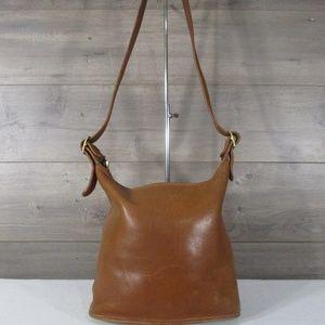 Vintage Coach 9118 Tan Leather Bucket Shoulder Bag